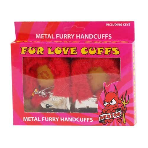 Metal Furry Handcuffs Red
