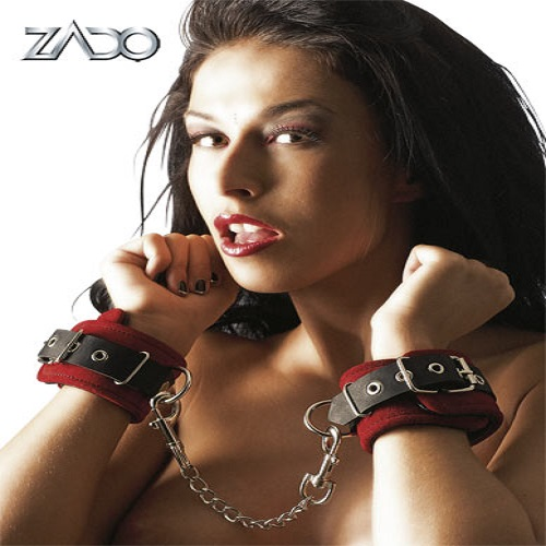 Zado Leather Handcuffs Red and Black