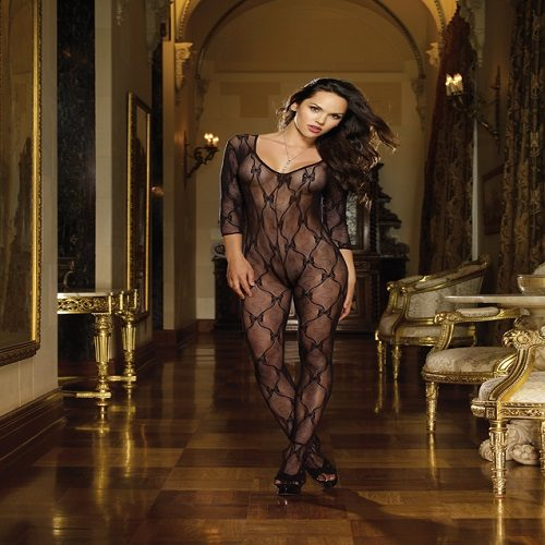 Dreamgirl Bordeaux Long Sleeved Lace Bodystocking 1