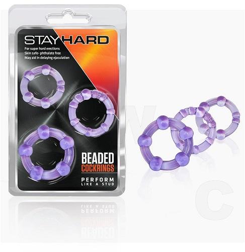Stay Hard Beaded Cock Rings Purple (3 Pack) 1