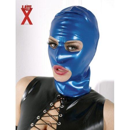 LateX Blue Bondage Hood 1