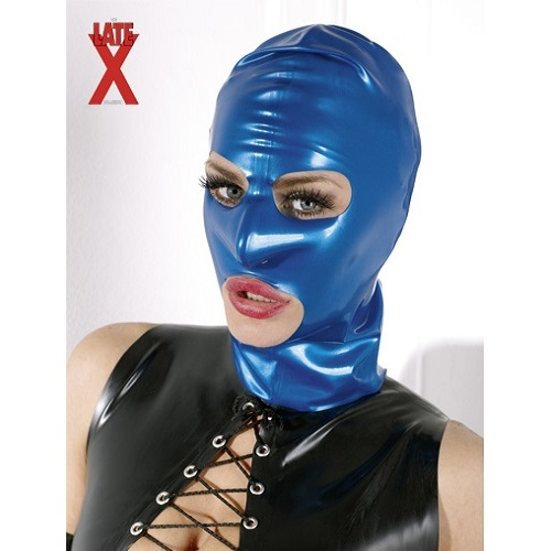LateX Blue Bondage Hood 1
