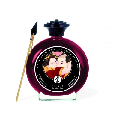 Shunga Champagne & Strawberries Edible Body Paint 100ml
