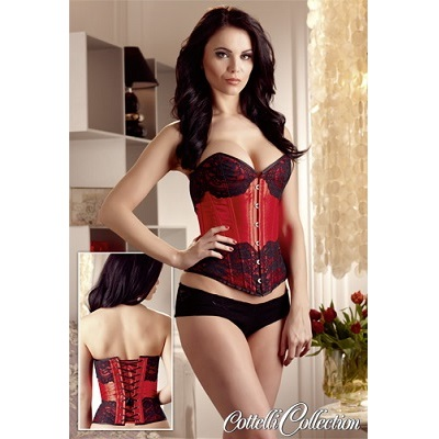 Cottelli Collection Red Satin Corset with Black Lace
