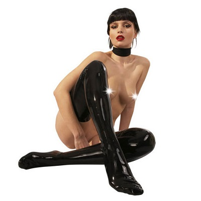 Late X Collection Black Latex Stockings 1