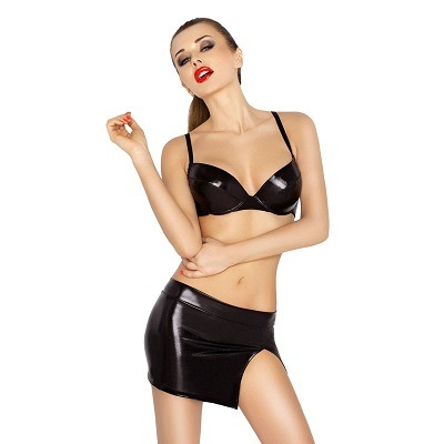 Passion Neddy Black Wet Look 3 Piece Set 1