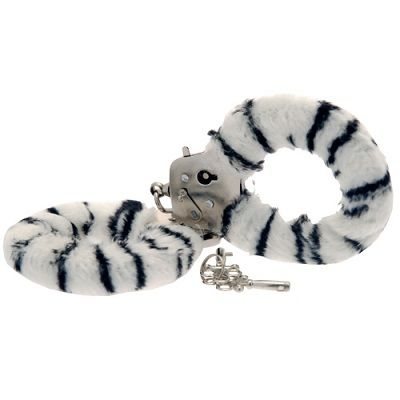 Toy Joy Furry Fun Hand Cuffs Zebra Plush 1