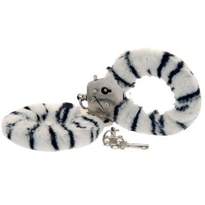 Toy Joy Furry Fun Hand Cuffs Zebra Plush 1