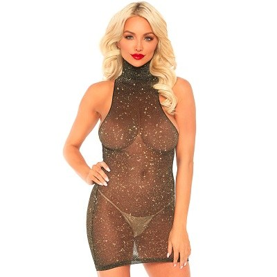 Leg Avenue Lurex Spandex Mini Dress Gold UK 8 TO 14 1