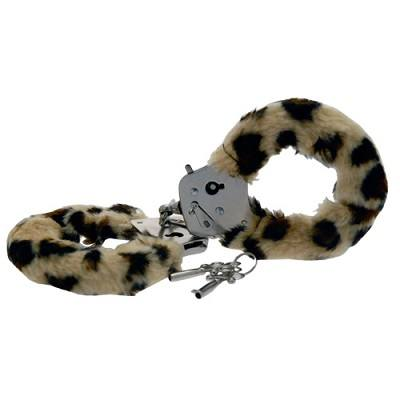 Toy Joy Furry Fun Hand Cuffs Leopard Plush 1