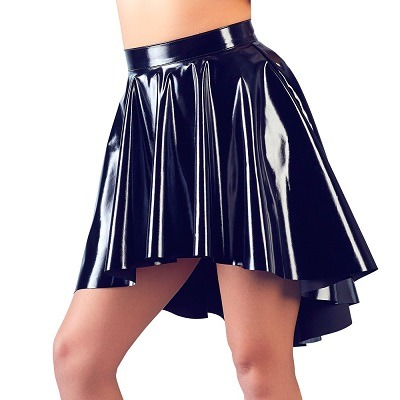 Black Level Black Vinyl Asymmetrical Rock Skirt 01