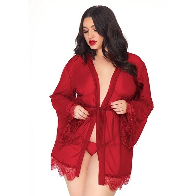 Leg Avenue Burgundy Sheer Robe Plus Size UK 18 to 22 1