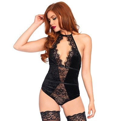 Black Halter Neck Stretch Velvet Teddy 1