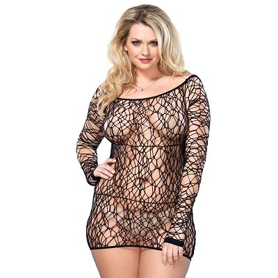 Leg Avenue Web Net Mini Dress Black UK 18 to 22 1