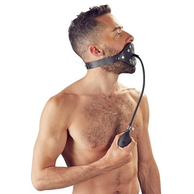 Zado Black Leather Inflatable Gag 1