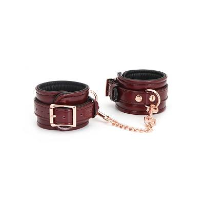 Wine Red Leather Wrist Restraints 1