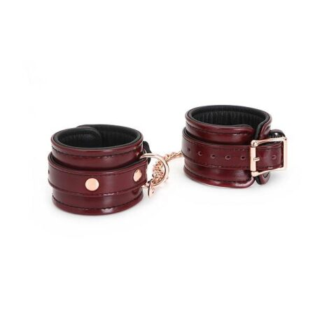 Wine Red Leather Wrist Restraints