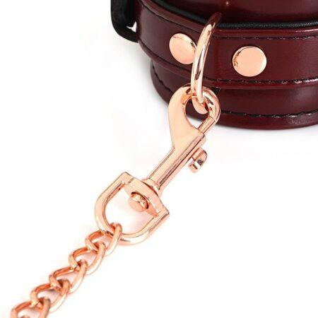 Wine Red Leather Wrist Restraints 3