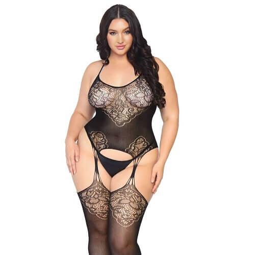 Leg Avenue Lace Suspender Bodystocking Plus Size 1