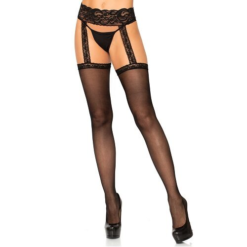 Leg Avenue Sheer Thigh High Stockings with attached Lace Garterbelt 1