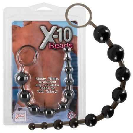 X-10 Jelly Anal Beads Black 1