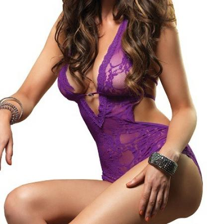 Leg Avenue Deep V Halter Teddy Purple 1