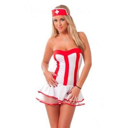 Red And White Nurse Dress Outfit 1